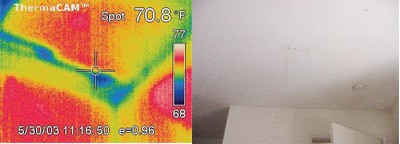 Comparison of typical digital camera photo vs thermal infrared camera photo